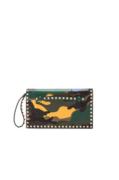 Valentino Camouflage Rockstud Flap Clutch in Multi