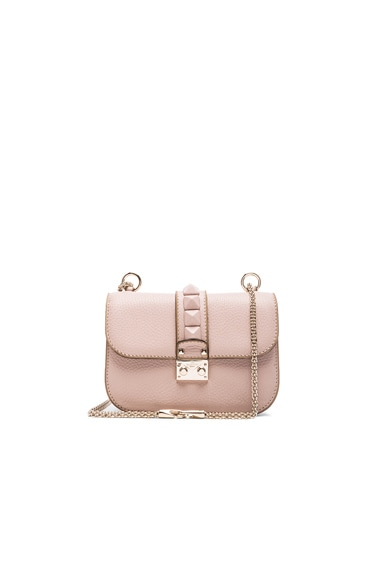 Valentino Small Lock Shoulder Bag in Poudre