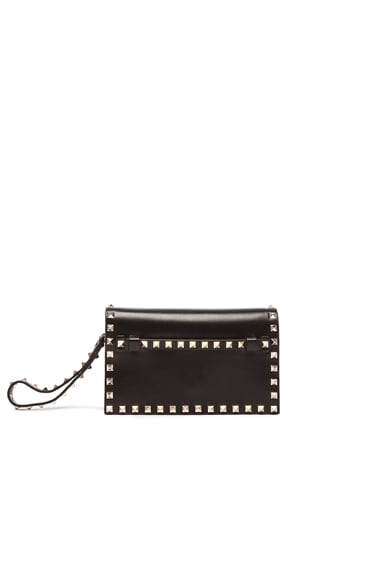Valentino Rockstud Small Clutch in Black