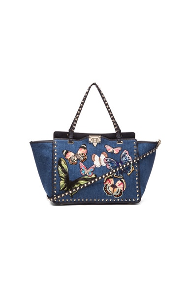 Valentino Butterflies Rockstud Medium Tote in Denim