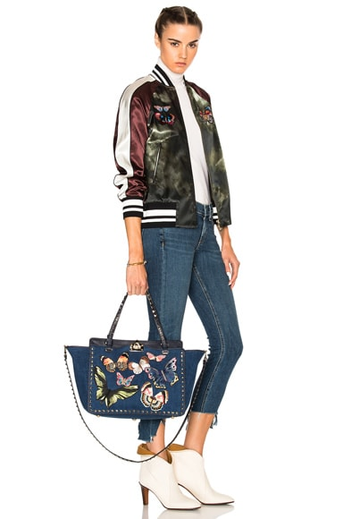 Butterflies Rockstud Medium Tote