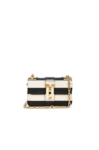 Valentino B-Rockstud Small Shoulder Bag in Black & White