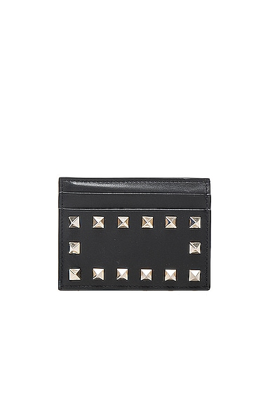 Valentino Rockstud Credit Card Holder in Black