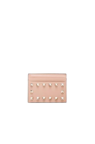 Valentino Rockstud Credit Card Holder in Skin Sorbet