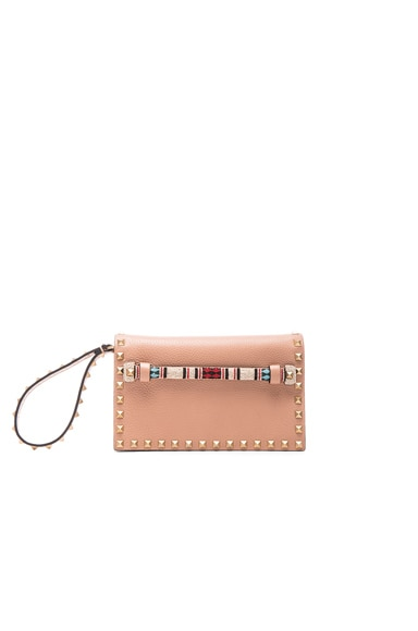 Valentino Small Rockstud Clutch in Soft Noisette