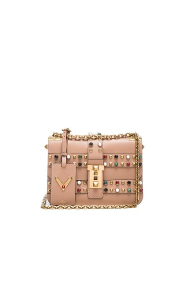 Valentino Rockstud Rolling Bag in Soft Noisette