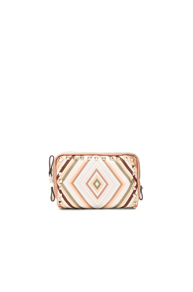 Valentino Rockstud Small Washbag in Multicolor Green Tea Sorbet