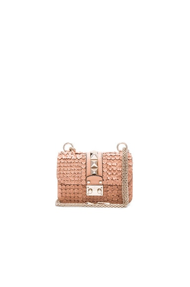 Valentino Ricamo Garden Party Mini Lock Shoulder Bag in Skin Sorbet