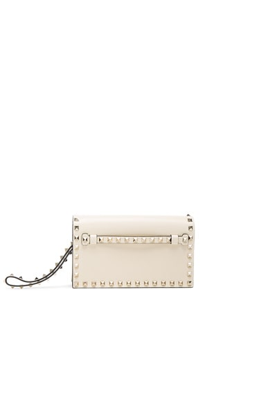 Valentino Rockstud Small Clutch in Light Ivory