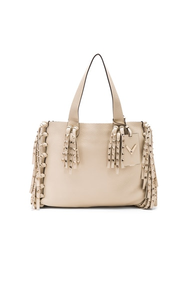 Valentino C Rockee Tote in Light Ivory