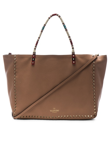 Valentino Large Rockstud Double Tote in Soft Noisette & Rubin
