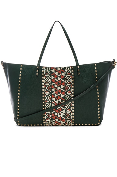 Valentino Large Print Rockstud Tote in Dark Green