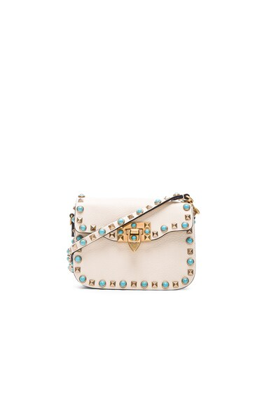 Valentino Small Rockstud Rolling Bag in Light Ivory