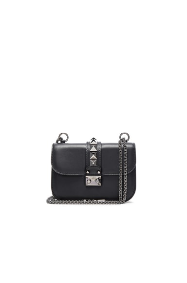 Valentino Small Noir Lock Flap Bag in Nero