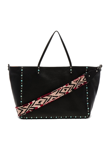 Valentino Guitar Rockstud Rolling Double Large Tote in Black, Soft Noisette & Red