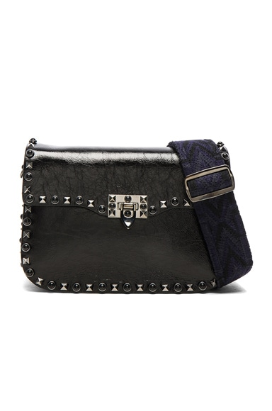 Valentino Guitar Rockstud Rolling Noir Shoulder Bag in Black, Blue & Dark Blue