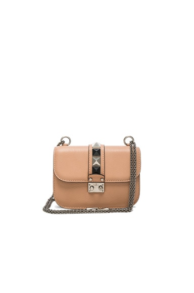 Valentino Lock Rolling Small Shoulder Bag in Soft Noisette