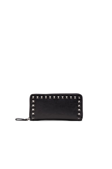 Rockstud Noir Zip Around Continental Wallet