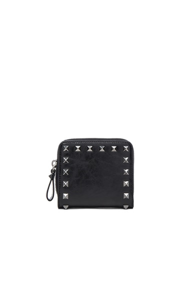 Valentino Rockstud Noir Zip Around French Wallet in Black