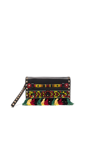 Valentino Rockstud Ribbons Clutch in Nero