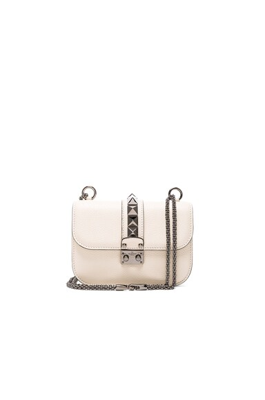 Valentino Small Lock Shoulder Bag in Light Ivory