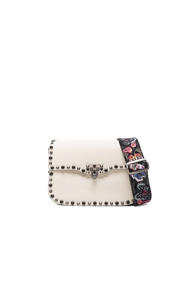 Valentino Guitar Rockstud Rolling Shoulder Bag in Light Ivory
