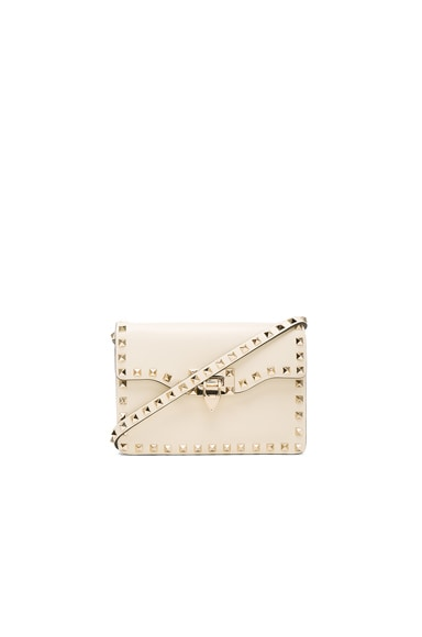 Valentino Small Rockstud Shoulder Bag in Light Ivory