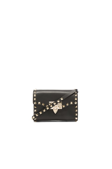 Valentino Small Rockstud Shoulder Bag in Black