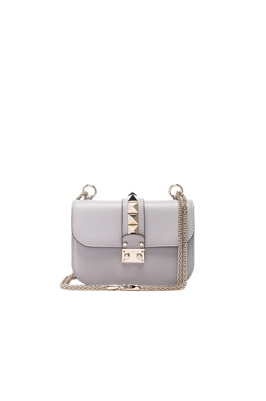 Valentino Small Lock Shoulder Bag in Pastel Grey