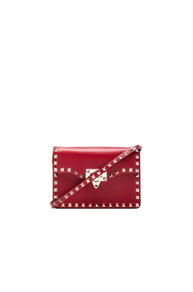 Valentino Small Rockstud Shoulder Bag in Red