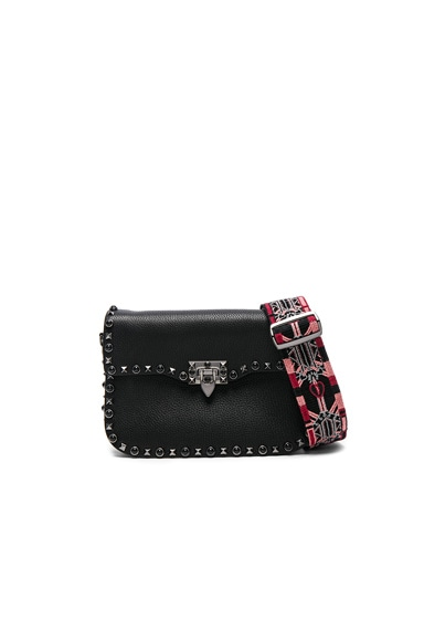 Valentino Guitar Rockstud Rolling Shoulder Bag in Black