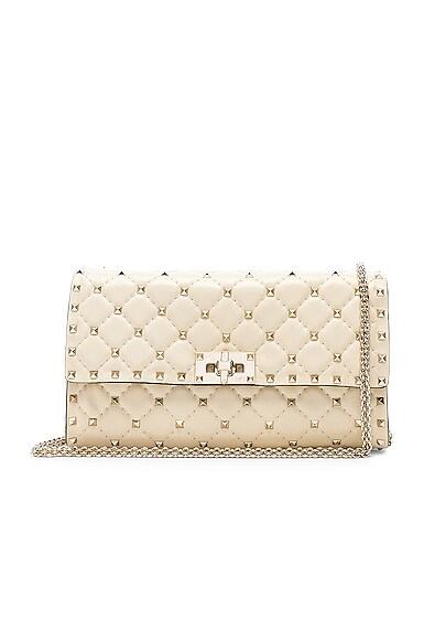 Valentino Quilted Rockstud Small Spike Shoulder Bag in Light Ivory