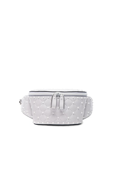 Small Quilted Free White Rockstud Spike Belt Bag
