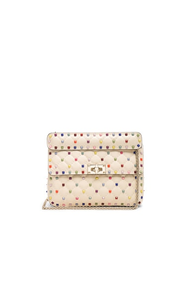 Medium Multicolor Rockstud Spike Shoulder Bag