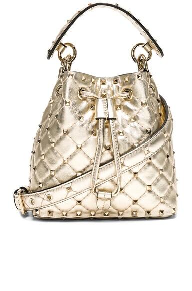 Small Metallic Rockstud Spike Bucket Bag