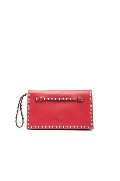 Valentino Rockstud Flap Clutch in Red