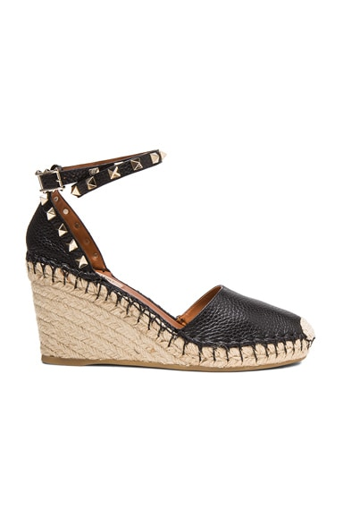 Rockstud Double Espadrille Leather Wedges