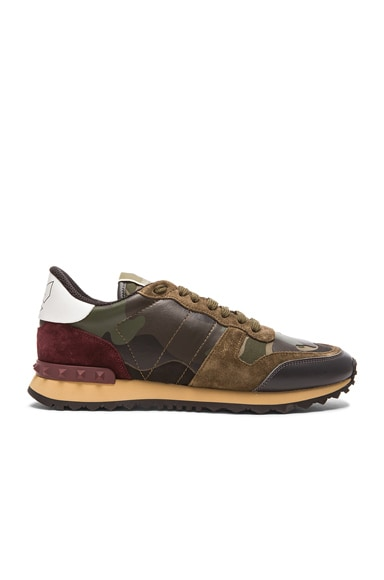 Valentino Camouflage Canvas & Suede Sneakers in Multi