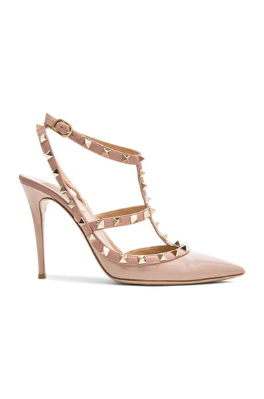 Valentino Rockstud Patent Leather Slingbacks T.100 in Poudre