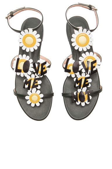 Valentino Love Me Love Me Not Leather Sandals in Pine