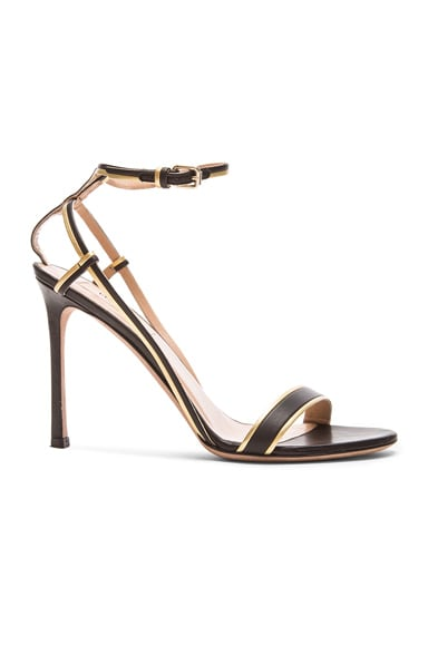 Valentino Emilie Leather T.100 Sandals in Black & Gold