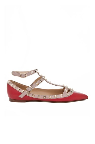 Rockstud Leather Cage Flats
