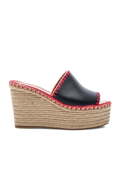 Valentino Color Crochet Leather Wedges in Black
