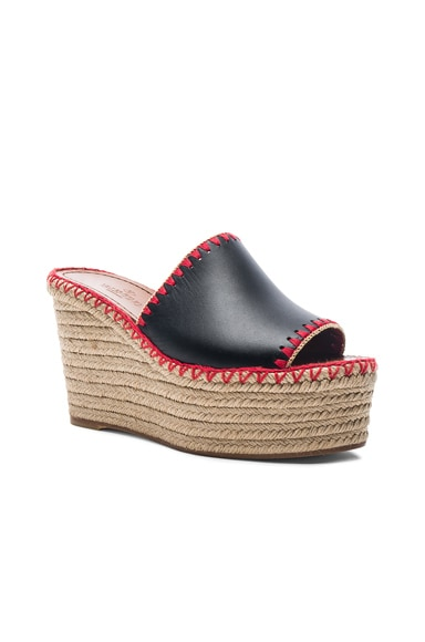 Color Crochet Leather Wedges