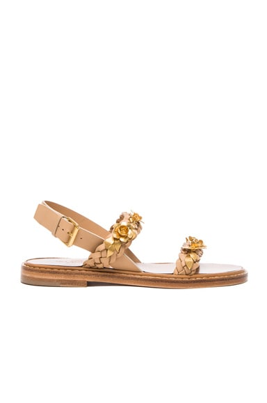 Valentino Garden Party Sandals in Matte Gold & Natural