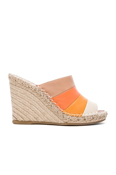 Valentino 1975 Stripes Wedges in Multicolor Mandarin Sorbet