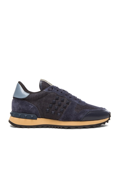 Valentino Rock Runner Rockstud Sneakers in Deep Denim, Grey & Marine