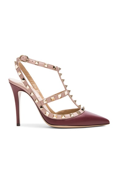 Valentino Rockstud Leather Slingbacks T.100 in Cremisi