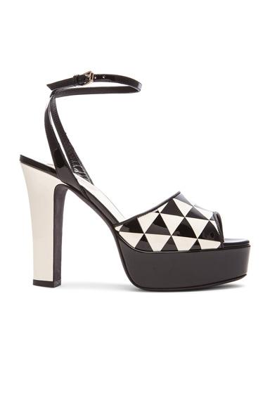 Valentino Shiny Fever Print 115MM Platform Sandals in Black & Light Ivory