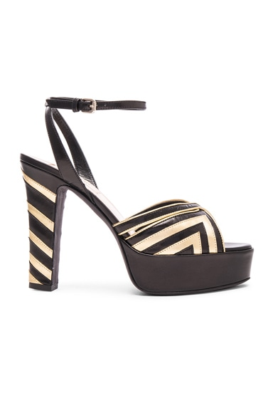 Valentino Chevron Shiny Leather Fever 115MM Platform Sandals in Black & Gold